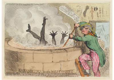 'Barbarities in the West Indias [Indies]'  by James Gillray, published by Hannah Humphrey, 23 April 1791. NPG D12417.