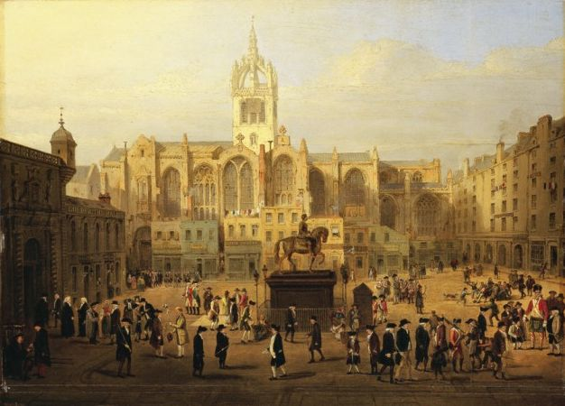 Picture credit: Parliament Close and Public Characters of Edinburgh 50 years Since, attributed to John Kay (1742-1826)