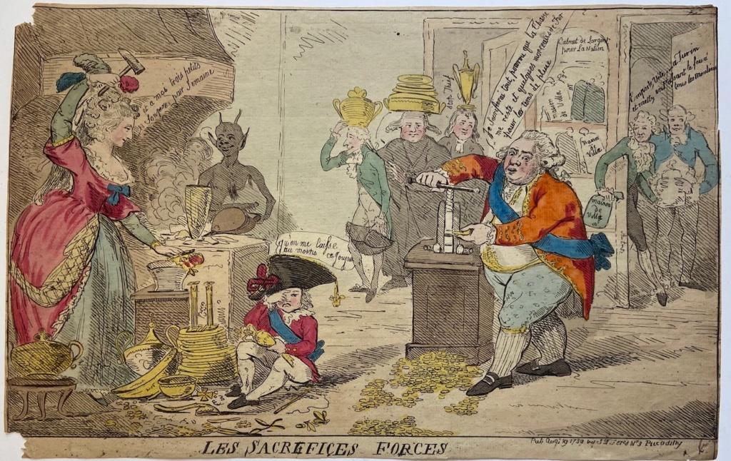 Isaac Cruikshank Les Sacrifices forcés (1789)