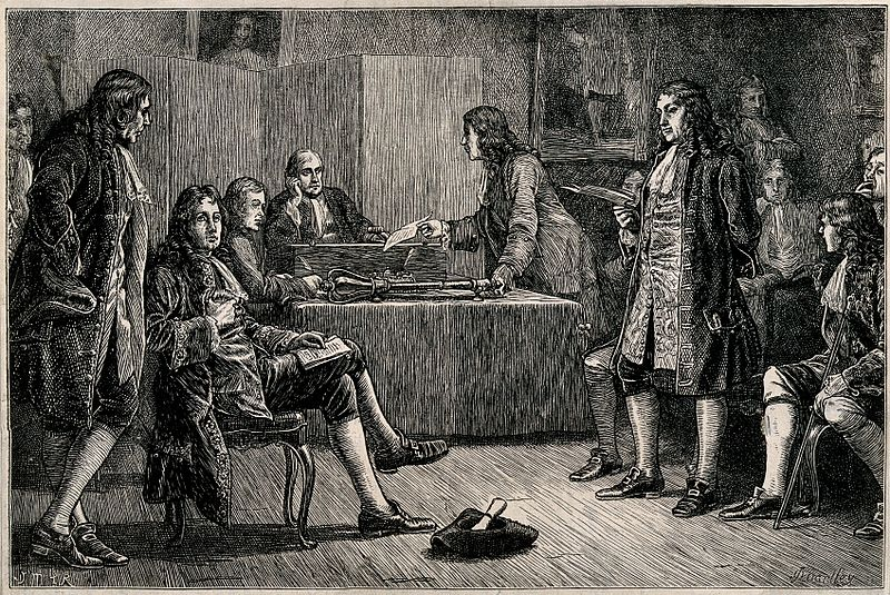 Royal Society, Crane Court, off Fleet Street, London: a meeting in progress, with Isaac Newton in the chair, 1883
