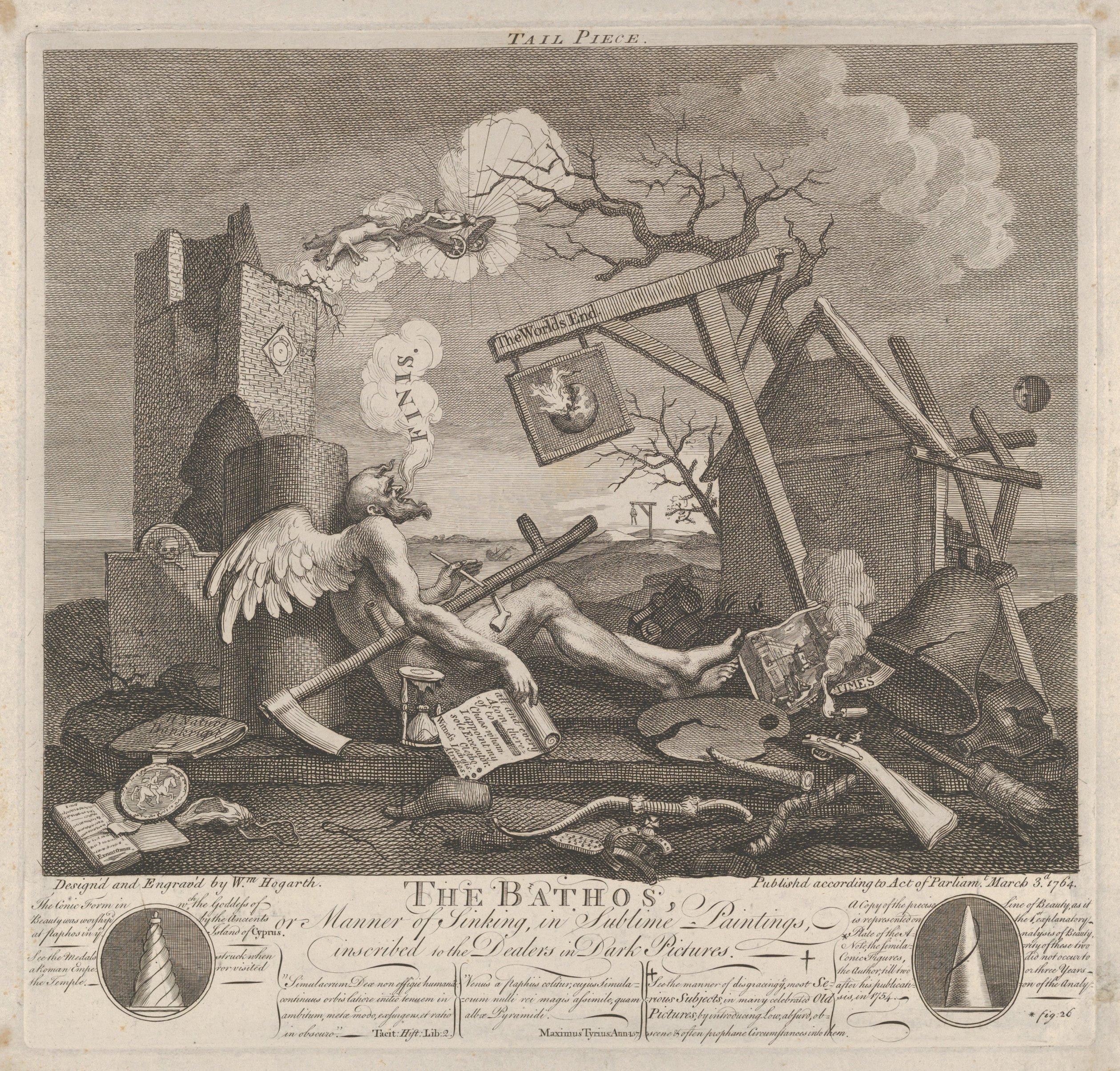 William Hogarth, Tailpiece, or The Bathos (1764)