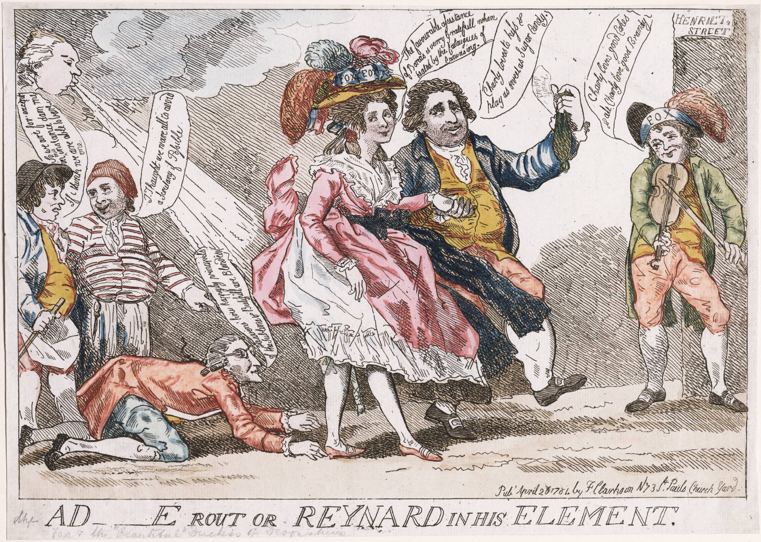 """A D-e [Devonshire] rout or Reynard in his element"""", 1784"""