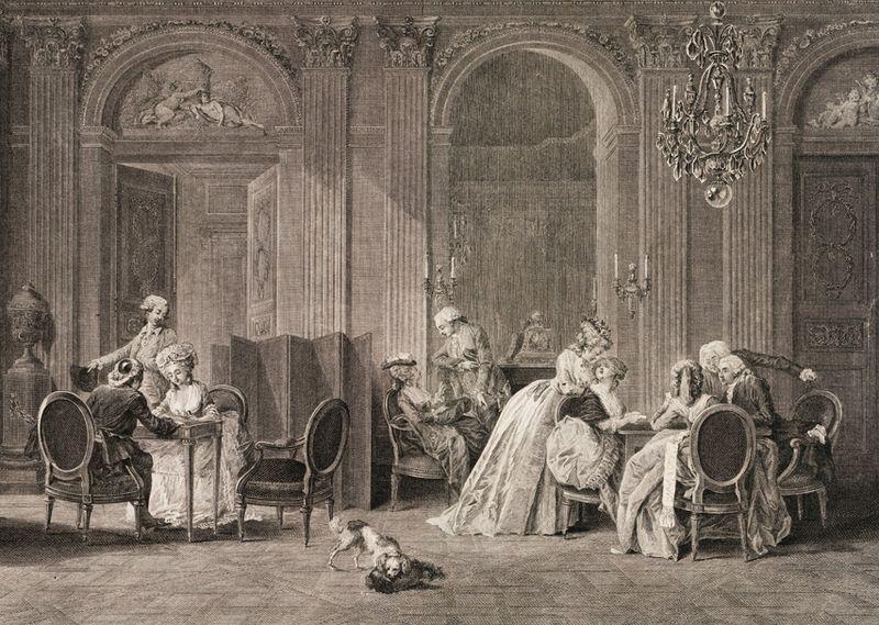 N. Lafrensen (ill) et F. Dequevauviller (grav), L'Assemblée au Salon, eau forte