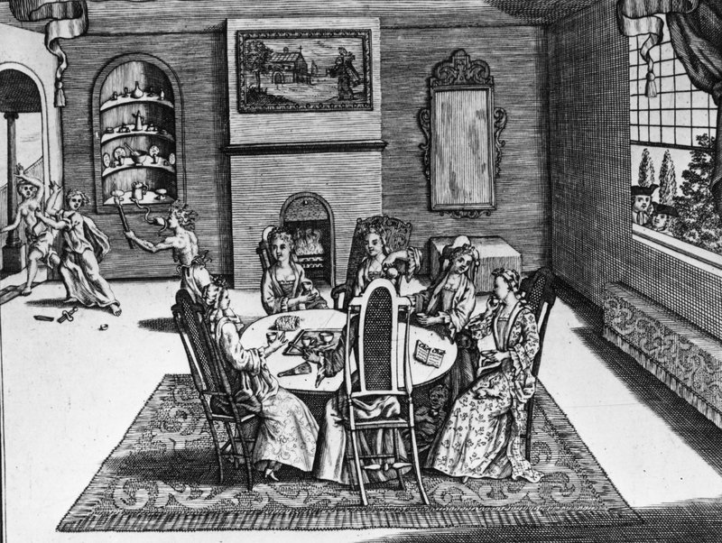 A satire of women's social discourse in the Queen Anne period depicts six women taking tea in a parlor, with figures on the left signifying hidden emotions and power struggles behind a genteel facade. Circa 1710.