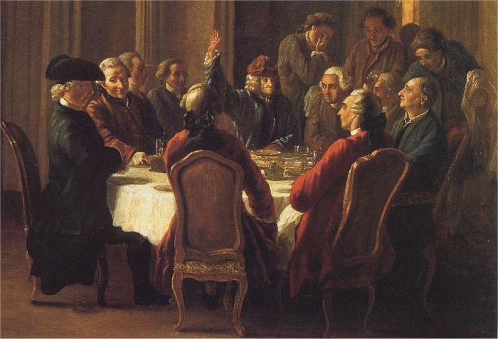 Huber, Le repas des philosophes (1772-1773)